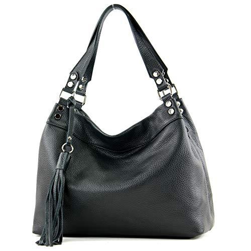 modamoda de - T201 - ital. Damen Schultertasche aus Echtleder, Farbe:Schwarz
