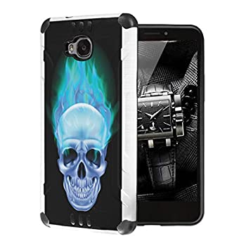 Moriko Case Compatible with Huawei Ascend XT [Cute Premium Dual Layer Hybrid Shockproof Slim Heavy Duty Men Women Girly Design White Black Case Phone Cover] for H1611  Blue Flame Skull