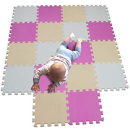MQIAOHAM plastic matten voor vloer vorm vierkant spelen gym speelgoed puzzel board schuim tegels kussens zachte in elkaar grijpende oefenmatten garage vloeren beschermer Wit Roze Beige 101103110