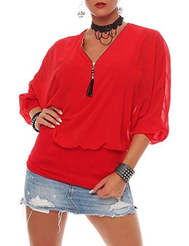 Malito Damen Bluse im Fledermaus Look   Tunika mit Zipper   Kurzarm Blusenshirt mit breitem Bund   Elegant - Shirt 6297 (rot)