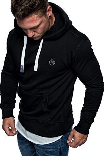Amaci&Sons Herren Basic Logo Kapuzenpullover Sweatjacke Pullover Hoodie Sweatshirt 1-04028 Schwarz S