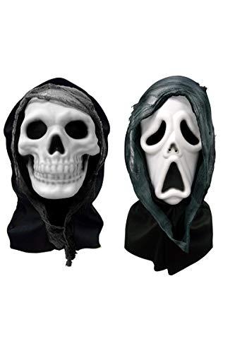 Funpack - MAHAL542 - Masque horreur en eva avec cagoule et gaze 2 modeles assortis