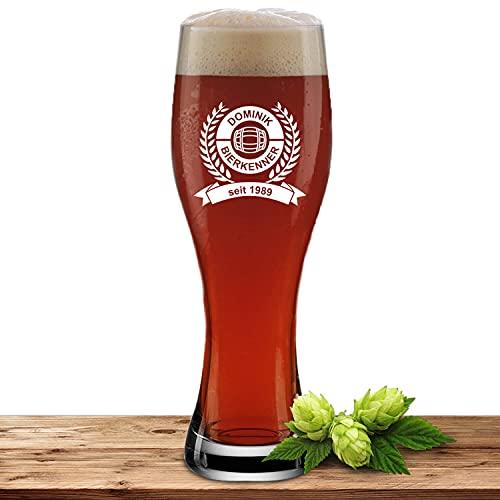Weizenglas mit Name oder Wunschtext, Bierglas 0,5l inkl. Gravur, individuelles Geschenk, personalisiertes Weißbierglas, Motiv Biertrinker