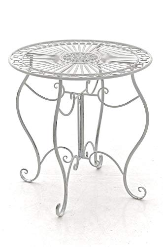 CLP Eisentisch Indra in nostalgischem Design I Gartentisch mit geschwungenen Beinen I erhältlich, Farbe:antik weiß