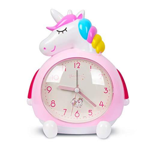 Minvo Einhorn Wecker für Kinder, Nacht mit lauter Musik Wecker aufwachen, ideale Geschenke für Kinder Partyzubehör, Schlafzimmerdekoration