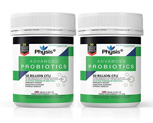 Physis Advanced Probiotics Couple's Pack (2 Bottles of 30 Capsules Each) - 50 Billion Live CFU Dairy Free Probiotic | Bloated Stomach Relief Tablets | Probiotics Treatment for Gut Cleanse & Digestion