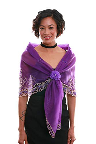 Cutwork Alampay Purple 002 - Filipiniana Embroidered Shawl Cape Panuelo Filipino Traditional Clothing