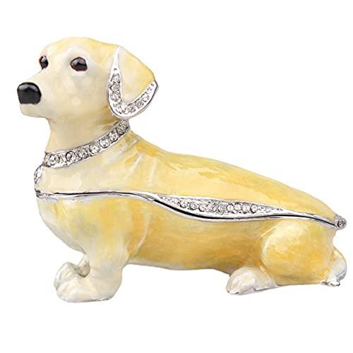 KKJJ Estatua de Perro Esmalte Joyero Decoración, Caja de Joyería para Perro Salchicha, Figuritas de Animales para Perro, Decoración, Regalos para Amantes de Las Mascotas,Amarillo