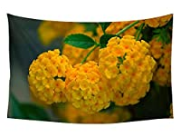 壁のタペストリー 風景タペストリー - 黄色いランタナの花の花序 - 装飾壁掛けタペストリー 間仕切り おしゃれ インテリア 寝室 カーテン 部屋飾り 新築お祝い 結婚お祝い プレゼント 横230cm×縦150cm