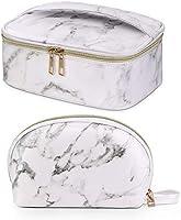 Maange 2 Pcs Makeup Bag Waterproof Cosmetic Bags, Marble-2 Pcs, L,