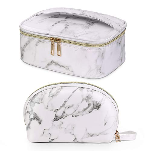MAANGE Makeup Bag 2 Pcs Cosmetic Bag Portable Travel Makeup Bag Small Waterproof Make Up Bag for Girls and Women with Gold Zipper Marble Travel Toiletry Bag (2 Packs)