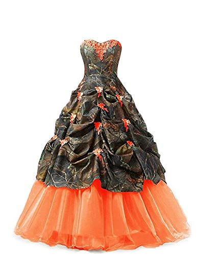 Chupeng Women's Appliques Camouflage Satin Wedding Bridal Dresses Prom Quinceanera Ball Gowns Plus Size oran 16 Orange