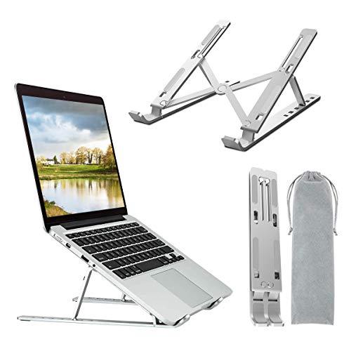 DOB SECHS Portable Laptop Stand, Foldable Ventilated Desktop Laptop Holder, Universal Lightweight Space-save Adjustable Ergonomic Tray Mount for MacBook/HP/Notebook/Samsung/HUAWEI (Grey)