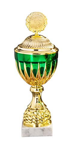 Henecka Pokal Serie Heidi, Gold-grün, mit Wunschgravur und auswählbarem Sport-Emblem, Größe 38,9 cm