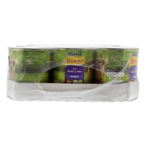Bonzo Komplettes Tierfutter mit Rindfleisch und Herz - 12 Dosen x 800 Gramm
