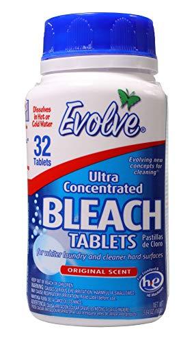 Evolve Bleach Tablets, HE Safe, No Splash, 32ct (Original Scent) Bleach, Hard Surface Cleaner, No Splash Bleach, Cleaner, Tablets, Bathroom Cleaner, Kitchen Cleaner,