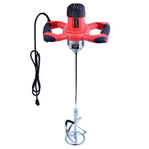CtopoGo 1600W Portable Electric Concrete Cement Plaster Grout Paint Thinset Mortar Paddle Mixer Pro Drill Mixer Stirring Tool Adjustable 6 Speed Handheld Standard 110V (1600W Red)