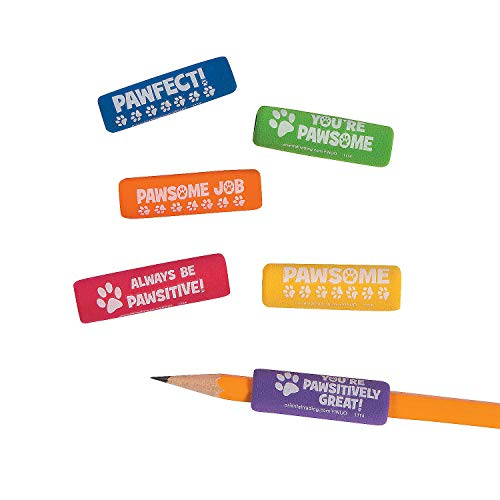 Fun Express Paw Print Pencil Grips - 48 Pieces - Educational and Learning Activities for Kids