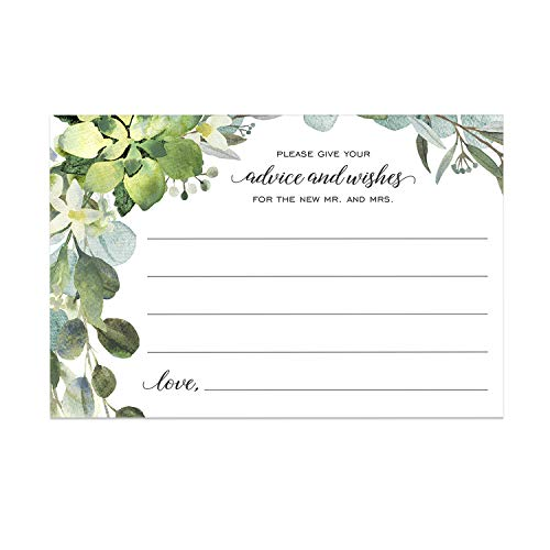 Lush Greenery Advice and Wishes Cards for The Bride and Groom (Pack of 50) / 4x6 Marriage Advice Cards