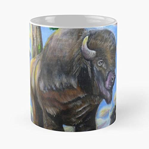mconcepts Beast Bull Montana Bison Wilderness Wilde Sanctuary Buffalo Grange Essen Sie Essen Biss John Best 11oz Unze weiße Keramik Kaffeebecher