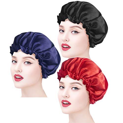 Ealicere 3 Pièces Bonnet de Sommeil, Bonnet en Satin Sommeil,bonnet satin cheveux nuit,Cap élastique,Chef de Nuit Turbans de Cheveux, pour Femmes et Filles(noir,bleu,rouge)