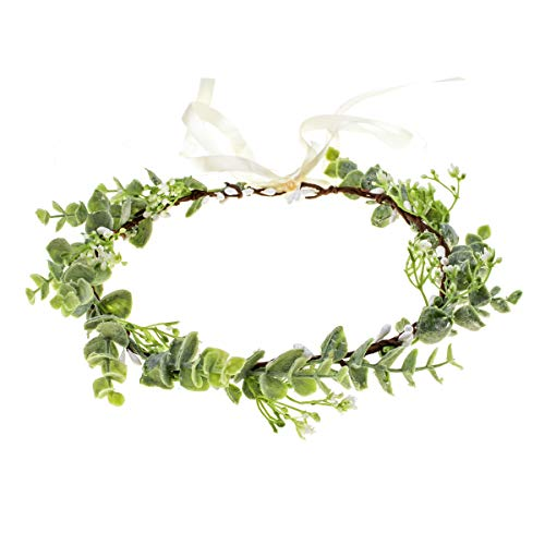 Floral Fall Artificial Baby Breath Flower Halo Wedding Crown Pink Bridal Headpiece Greenery Crown HC-24 (Eucalyptus Crown)