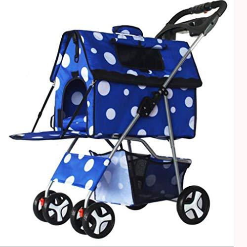 MCSHGPETY Kinderwagen voor huisdieren Levert Kinderwagen voor huisdieren 4 Wieltjes Kleine Reizen Draagbare Hond of Kat Vouwfiets Jogger Pushchair Hond Fiets Trailers Trolley, Blauw
