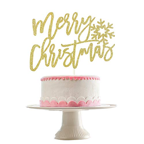 Gold Glittery Merry Christmas Cake Topper- Christmas Holiday Party Decorations,Christmas Cake Decor