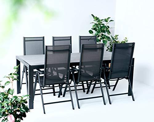 Set tavolo da pranzo in textilene e polywood da giardino, 7 pezzi con 6 sedie regolabili e pieghevoli per 6 persone, tavolo espandibile, adatto per il giardino, il balcone o la terrazza