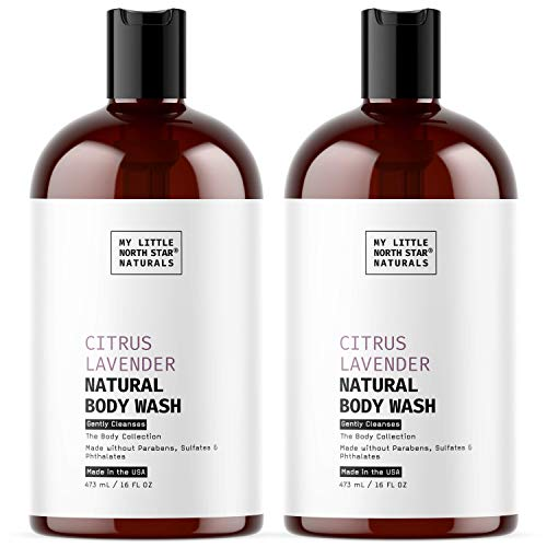 Natural Body Wash | Natural Citrus Lavender Body wash & Shower Gel | Made in USA | 2X16oz | Made...