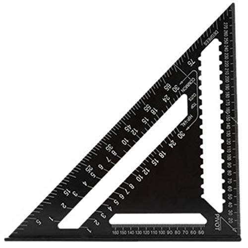 Curroxer 12 pulgadas de aluminio métrico triángulo regla cuadrados para ingeniero carpintero para carpintería herramientas velocidad cuadrado ángulo herramienta de medición