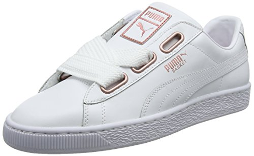 Puma Damen Basket Heart Leather Sneaker, Weiß White-Rose Gold, 39 EU
