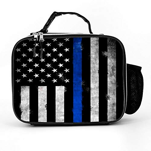 Retro Thin Blue Line Lunch Box with Padded Liner, Spacious Insulated Lunch Bag, Durable Thermal Lunch Cooler Pack for Boys Men Women Girls Adults