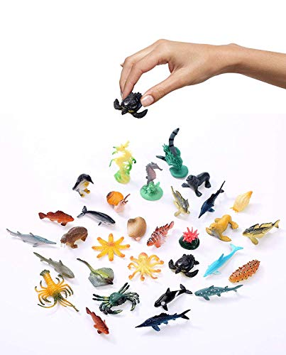 Fun Wave Underwater Sea Life Sea Animals Deep Sea Creatures Animal Figures Sea Toys Rubber Sea Creatures Bathtub Toys Educational Preschool Toys for Kids-Assorted Styles, 90 Count - 1 to 2.25 inch