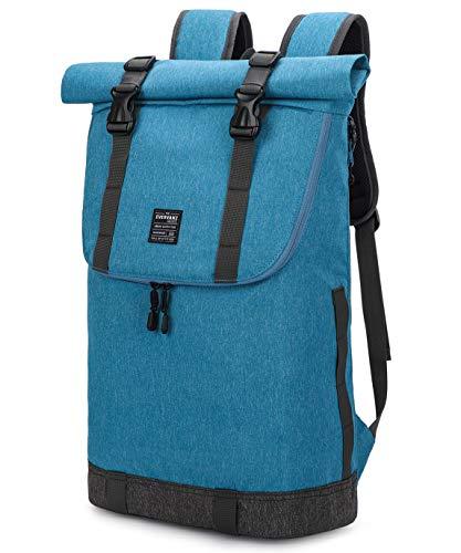 EverVanz Laptop-Rucksack, Damen und Herren Roll Top Wasserdichter Wanderrucksack, Leichter, Lässiger Rucksack, Stylische Schultasche