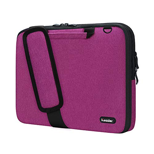 iCozzier 13-13.3 Inch Handle Laptop Briefcase Shoulder Bag Electronic Accessories Organizer Messenger Carrying Case Laptop Sleeve Protective Bag with Shoulder&Luggage Strap - Rose