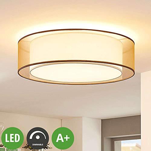 Lindby LED Deckenlampe 'Amon' dimmbar (Modern) in Braun aus Textil u.a. für Wohnzimmer & Esszimmer (3 flammig, A+, inkl. Leuchtmittel) - Deckenleuchte, Lampe, Wohnzimmerlampe