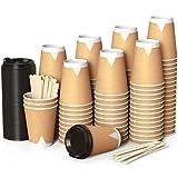 100 Kraft Vasos Desechables 360 ml de Doble Pared de Café para Llevar - Vasos Carton con Tapas y Agitadores de Madera para Servir el Café, el Té, Bebidas Calientes y Frías