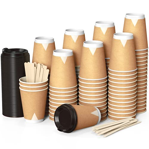 100 Kraft Piatte Bicchieri Carta 360 Mil Doppia Parete per Prendere Il caffè – Tazza con Coperchio di 12 Oncia per Prendere Il caffè con Le Stiratrici di Legno per Le Bevande Calde