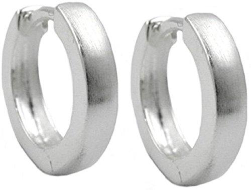 Schmuck Ohrschmuck Silber Ohrringe Silber 925 Creolen für Damen und Herren 13 x 3 mm matt mit Steckverschluss inklusive Schmuckbox