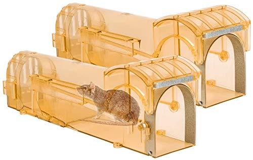 Mausefalle Lebend, 2er Lebendfallen Mäuse, Tierfreundlich und Umweltbewusst Rattenfalle, Kein Töten und Verwendung im Innen- und Außenbereich