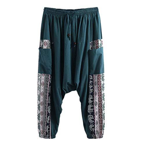 MY Household Harem Harem Pantin Con bolsillo para pantalones holgados Bloomer Yoga danza bragas de la playa para Hombres XXL verde