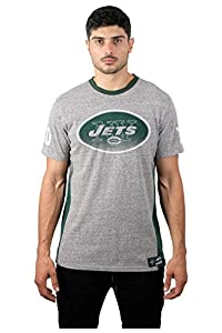 Ultra Game NFL New York Jets Mens Vintage Ringer Short Sleeve Tee Shirt, Gray, Large