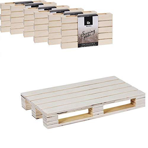 Acan Pack de 6 bandejas de Madera Estilo Palet Multiusos 24 x 16 x 2 cm, Tabla, Bandeja, Plato,Palet Ideal para Servir Tapas, Pinchos,Caterings