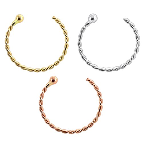 3 stuks boxset 9K solide goud 22 gauge (0,6 mm) - Twister Ball Eind Hoop verder neuspiercing ring