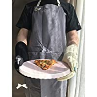 キッチンシェフホームワークキッチンクリーニングユニセックスベーキングギフトを調理エプロン猫の刺繍エプロンダブルポケットコットンエプロンクリーナー作業着グレー60x80cm BBQ YANGMB