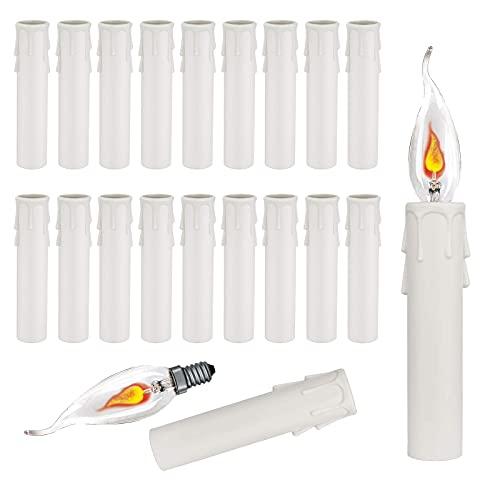 GZLCEU 20 portalámparas de araña, casquillo E14, para lámpara de pared LED, decoración (blanco, 100 x 30 mm)