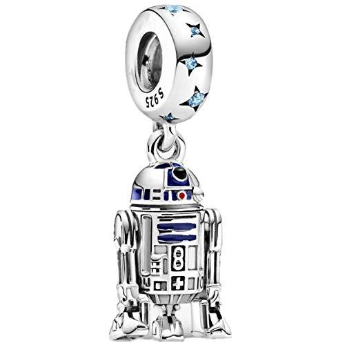 Annmors Abalorios Charms Colgantes de Star Wars Charm R2-D2 Cuentas Plata de Ley 925 con Circonita cúbica Transparente Compatible con Pulsera Pandora & Europeo, Charms para Mujer Niña