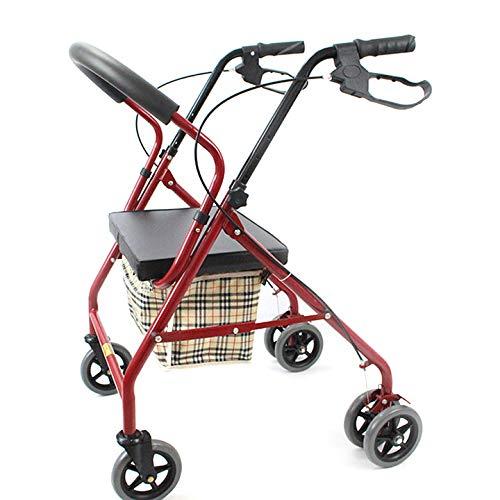 ZHHB Faltbarer Allrad-Rollator-Gehhilfe, Leichte Gehhilfe Für Ältere Menschen Mit Gepolstertem Sitz, Höhenverstellbare Hilfe Bei Eingeschränkter Mobilität Für Kofferraum, Reise Und Flug,A