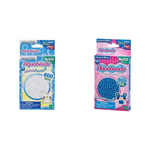 Aquabeads 32638 Perlen weiß & 32568 Perlen Bastelperlen nachfüllen blau